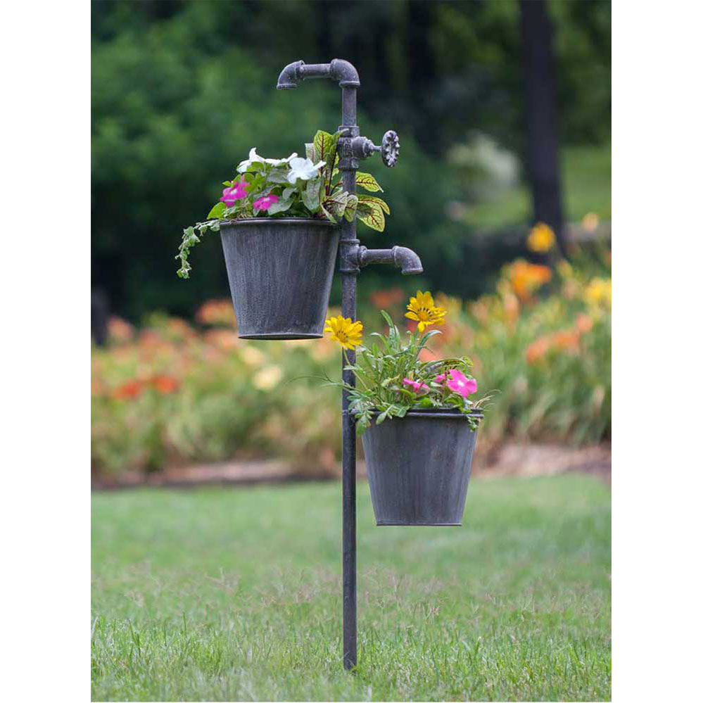 Faucet Garden Stake With Two Planters Ctw Home Collection