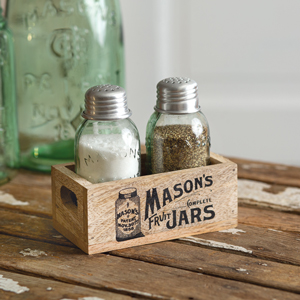 Mason/'s Jars Box Salt and Pepper Caddy with Wood Handle